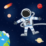 Outer Space with Astronaut & Planets. An astronaut floating in the outer space with Planet Earth, a comet and planets orbiting on a dark blue space background vector illustration