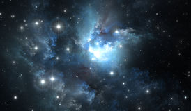 Outer space background with blue nebula and stars Royalty Free Stock Photos