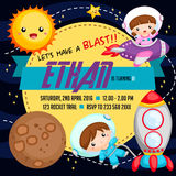 Outer space birthday invitation Royalty Free Stock Images