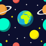 Outer space cartoon seamless pattern background Royalty Free Stock Photos