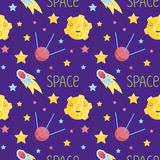 Outer Space Cartoon Seamless Pattern Vector. Outer space cartoon seamless pattern. Smiling moon with craters, bright stars, fiery comet, communications satellite Stock Photos