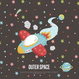 Outer Space Cartoon Vector Web Banner Stock Photos