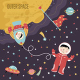 Outer Space Cartoon Vector Web Banner Stock Image