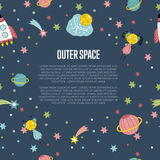 Outer Space Cartoon Vector Web Banner. Outer space cartoon banner. Spaceship, cute alien girl and boy, stars, comet, Saturn and earth planets vector Royalty Free Stock Photos