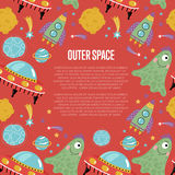 Outer Space Cartoon Vector Web Page Template Stock Image