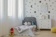Outer space child bedroom idea royalty free stock photography
