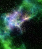 Outer space cloud nebula and stars Stock Image