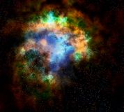 Outer space cloud nebula and stars Stock Photo