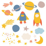 Outer space collection. Outer space, vector illustrations for kids vector illustration