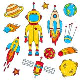 Outer space cosmos colorful colored line doodle icons set. Outer space cosmos colorful childlike  colored line doodle icons set Royalty Free Stock Images