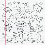 Outer space doodle notebook set stock illustration