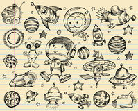Outer Space Doodle Sketch Set Royalty Free Stock Photos