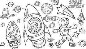 Outer Space Doodle Vector Set Royalty Free Stock Images
