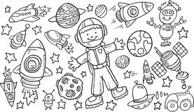 Outer Space Doodle VectorSet Stock Image