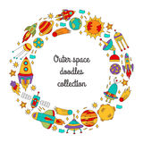 Outer space doodles circle round rame Royalty Free Stock Image