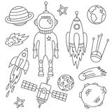 Outer space doodles graphic set Royalty Free Stock Photos