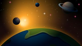 Outer space earth scene. Illustration stock illustration