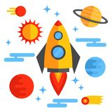 Outer space flat icons set stock illustration