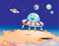 Outer space and Flying saucer Stock Image