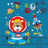 Outer space funny animal cartoon,vector illustration. For t shirt and wallpaper or book royalty free illustration