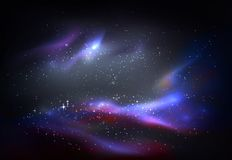 Outer space and galaxy, cosmos panorama. Space or universe, cosmos and galaxy panorama. Starry nebula for infinity of outer space, milky way or deep, dark star vector illustration