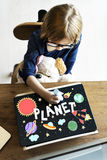 Outer Space Icons Drawing Graphics Concept Stock Photo