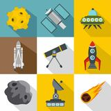 Outer space icons set, flat style Stock Photos