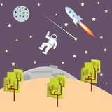 Outer space illustration kids style with spaceman rocket -ship Stock Photos