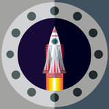 Outer space. Illustration in style flat Stock Image