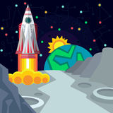 Outer space. Illustration in style flat Stock Images