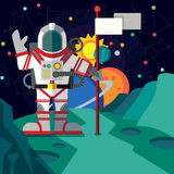 Outer space. Illustration in style flat Royalty Free Stock Photography