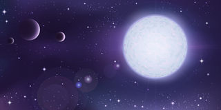 Outer space landscape. White star with a few planets in foreground Royalty Free Stock Images
