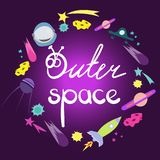 Outer space lettering. Round frame composition of space objects. Cute space cartoon doodle objects, symbols and items royalty free illustration