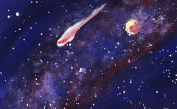 Outer space with the Milky Way, stars and planets. Hand painted illustration royalty free illustration
