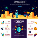 Outer Space Missions Flat Banners Composition Stock Photos