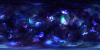 Outer Space Nebula and Stars  360 Degree Spherical Panorama. 360 degree spherical panorama of nebula in deep space with stars Stock Photo