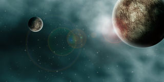 Outer Space Planets Panorama. Drawing of planets and nebula / clouds in outer space Royalty Free Stock Images