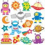 Outer space and robot clip art set Stock Photography