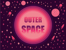 Outer space in 80`s retro style. Space travel, asteroids and space ships. Vector Royalty Free Stock Images