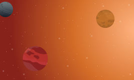 Outer space scenery on orange background Royalty Free Stock Photos
