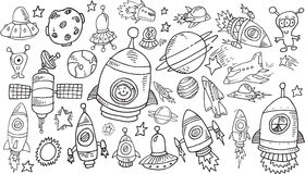 Outer Space Sketch Doodle Set. Outer Space Sketch Doodle Vector Set stock illustration