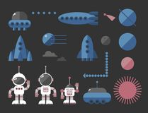 Outer space stickers collection Royalty Free Stock Photo