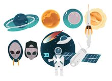 Outer space theme objects set with different planets, technologies and aliens isolated on white background. Cartoon colorful elements of space exploration Royalty Free Stock Image