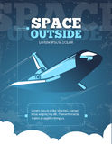 Outer space, universe adventure, galaxy travel vintage vector poster Stock Images
