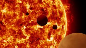 Planets orbiting sun like star. Outer space, universe exploration concepts stock footage