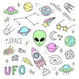 Cute outer space vector objects and writings royalty free illustration
