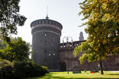 The Outer Wall of Castello Sforzesco (Sforza Castle) Royalty Free Stock Photo