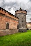 The Outer Wall of Castello Sforzesco (Sforza Castle) in Milan Stock Photography