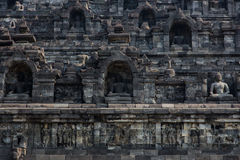 Outer wall detail of Borobudur temple, Java, Indonesia Stock Photo