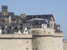 Outer wall ramparts in Mont Saint Michel, France Stock Image